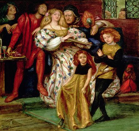 Картина «Семья Борджиа» Данте Габриэль Россетти показывает Джоффре и Лукрецию маленькими детьми.