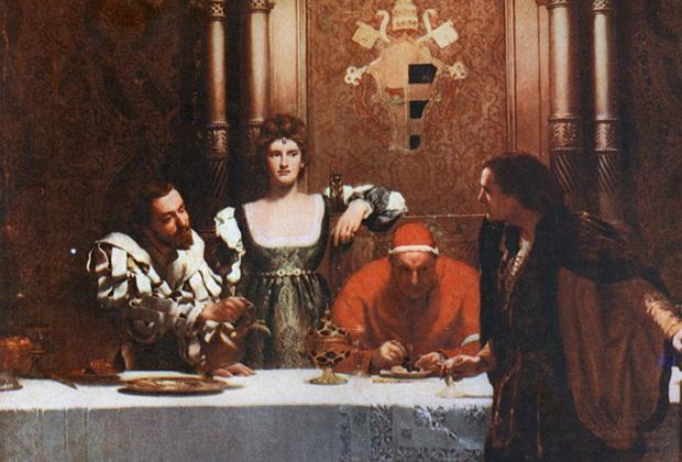 Картина Джона Кольера «Бокал вина от Чезаре Борджиа» была написана спустя более 350 лет после смерти Александра VI. На ней папа, Цезарь и Лукреция предстают в образе демонических отравителей.