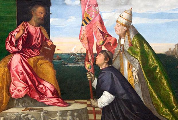 Редкое изображение папы в положительном образе — картина Тициана «Папа Александр VI представляет Якопо Пезаро святому Петру».