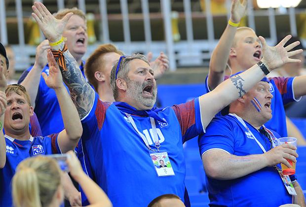 Болельщики Исландии на матче группового этапа чемпионата мира по футболу 2018 между сборными командами Исландии и Хорватии
