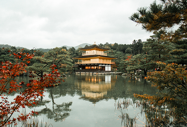 November 13th, 2015. Kyoto, Japan. The Golden Temple reflecting off a lake with a background of foliage. - Изображение