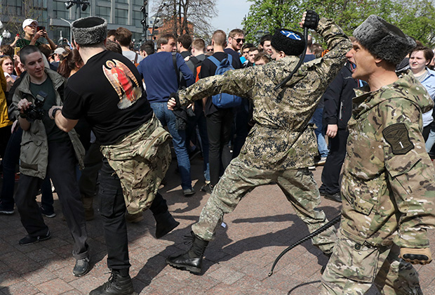 Казаки на митинге. Пушкинская площадь