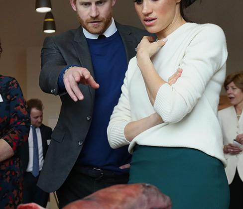 Принц Гарри и Меган Маркл разглядывают протезы, произведенные компанией Titanic FX. Снимок сделан в марте 2018 года во время визита пары в научный парк Catalyst Inc в Белфасте.