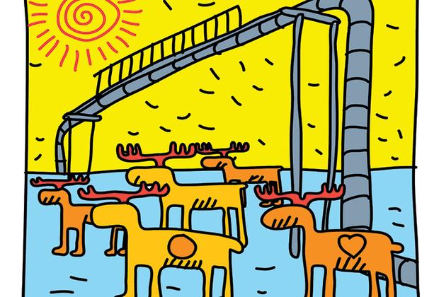 Изображение миграции оленей по специальному переходу в тундре выполнено в стилистике американского художника Кита Харинга, вдохновлявшегося эстетикой комиксов.