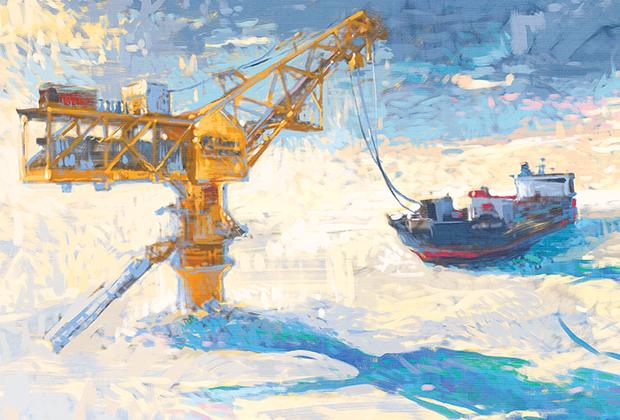 Пейзаж выполнен в стилистике, напоминающей об импрессионистической живописи Клода Моне. На картине изображены «Ворота Арктики» — первый в мире арктический нефтеналивной терминал в пресных водах, откуда берет начало морской путь нефти Новопортовского месторождения в Европу.