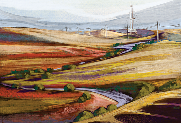 Пейзаж в Оренбуржье по мотивам живописи русского художника и путешественника Николая Рериха. На картине изображено Царичанское месторождение нефти — одно из самых сложных в мире по геологическому строению.
