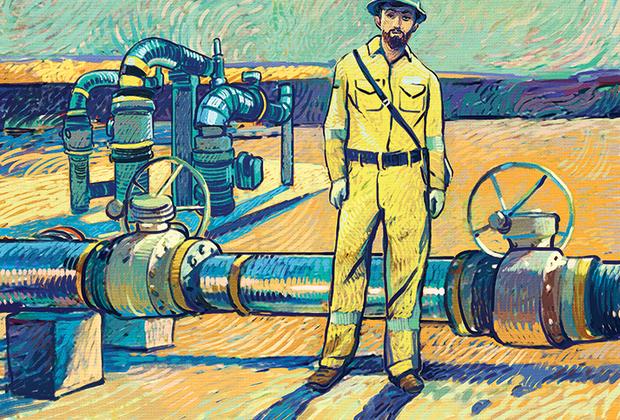 Изображение выполнено в стилистике живописных произведений голландского постимпрессиониста Винсента Ван Гога. Исследование промышленной эстетики на нефтяном месторождении Ближнего Востока.