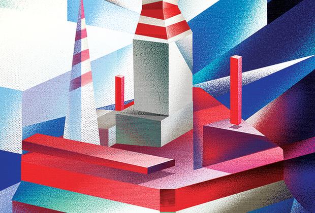 Изображение платформы «Приразломная» в Печерском море создано по мотивам кубический произведений Пабло Пикассо и Жоржа Брака.