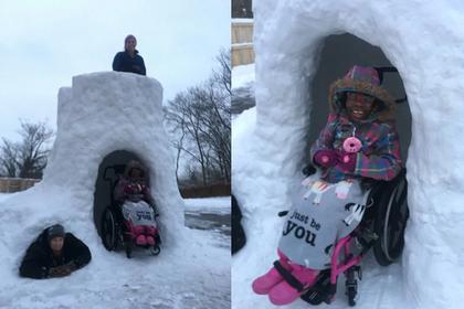 Отец построил снежный дом для дочери-инвалида и прославился
