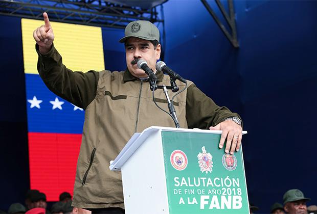 Николас Мадуро выступает перед публикой