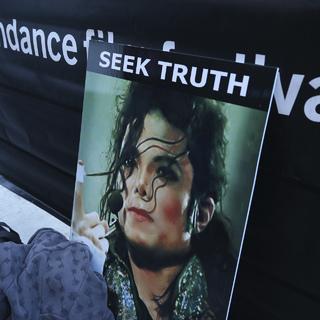 Плакат участников протеста против показа фильма «Покидая Нетландию»