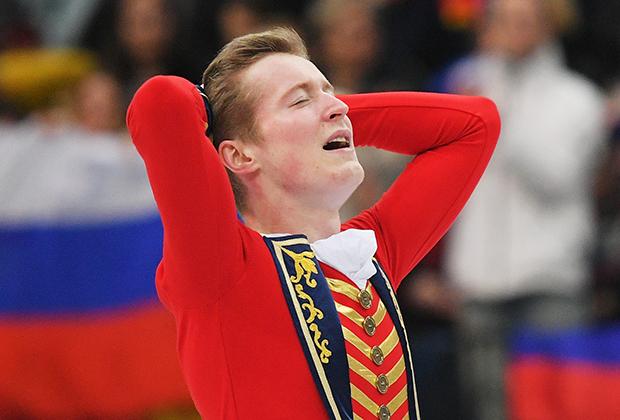 Александр Самарин (Россия) с произвольной программой мужского одиночного катания на чемпионате Европы по фигурному катанию в Минске