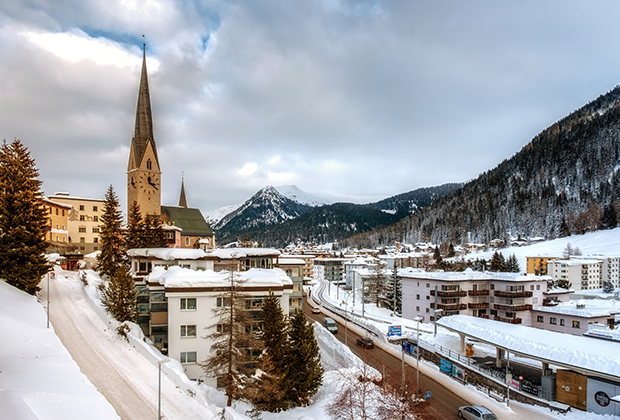 Impressions from downtown at the Annual Meeting 2019 of the World Economic Forum in Davos, January 21, 2018
