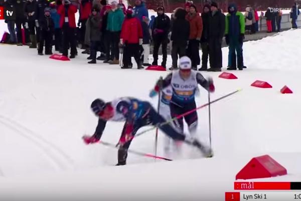 Норвежский лыжник упал на финише эстафеты