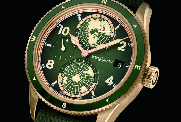 Модель Montblanc 1858 Geosphere, разработанная в честь международного альпинистского состязания Seven Summit, в нынешнем году выпущена в новом, еще более мужественном облике: корпус из бронзы, темно-зеленый циферблат и ремень-стропа защитного цвета.