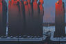 Преображенный вид из окна квартиры Сурнова. На месте этих фигур в реальности стоит длинная вереница домов, на одном из которых сидит Смотрящий из одноименной картинки. Дома всегда казались художнику окаменевшими истуканами, которые обречены вечно стоять в очереди в некую гигантскую кассу. На закате этот пейзаж особенно печален.