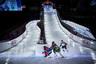 Американец Кирк Торнтон, канадец Джон Фишер, американец Тайлер Витти и немец Лука Энглер борются за лидерство перед финальным спуском.