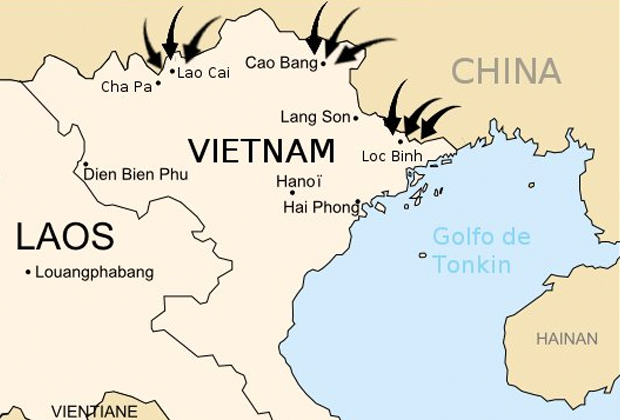 Направления вторжения Народно-освободительной армии Китая
