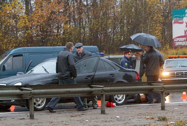 Следственные действия на месте расстрела семьи Александра Слесарева, владельца банков «Содбизнесбанк» и «Кредиттраст». 16 октября 2005 года