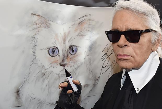 Кроме язвительных карикатур, модельер любил рисовать свою питомицу, кошку бирманской породы по кличке Шупетт.