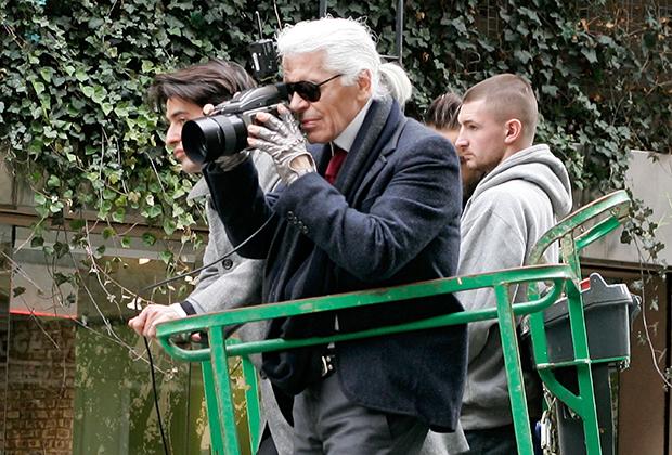 Лагерфельд во время фотосессии в Нью-Йорке, 2010 год