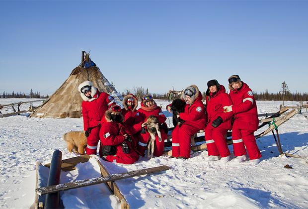 Участники снегоходной экспедиции