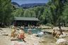 Туристы купаются в бассейне Фэнтом Рэнч — небольшого домика на берегу реки Колорадо в месте, где в нее впадают ручьи Брайт Энджел и Фэнтом. Домик был построен в 1922 году и почти сразу стал одной из самых посещаемых достопримечательностей южной части национального парка.
