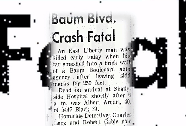 Заметка в газете об автокатастрофе, в которой погиб Альберт Аркьюри