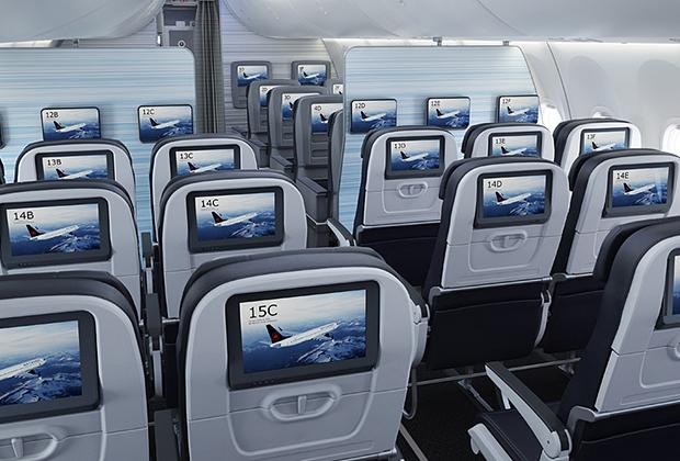 Интерьер в стиле 787 Dreamliner можно было заказать и на Next Generation, но для MAX такое исполнение является частью базовой комплектации.