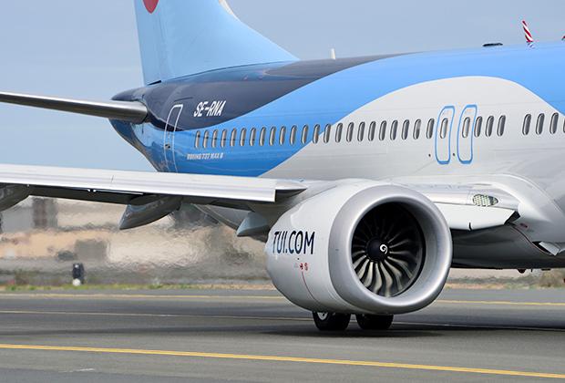 Двигатель CFM International LEAP-1B проще всего опознать по характерным шевронам на боковине, снижающим шум. А вот характерная для 737 приплюснутость корпуса стала не так ярко выражена.