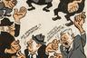 Так, в шарже «Заколдованный круг» Борис Ефимов показывает путаницу политических предпочтений и взглядов граждан СССР накануне развала советской империи.
