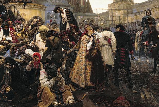 Фрагмент картины Василия Сурикова «Утро стрелецкой казни»