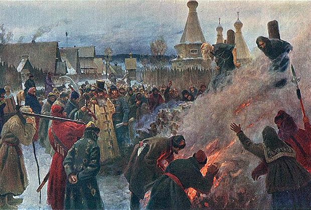 Картина Петра Мясоедова «Сожжение протопопа Аввакума»