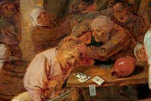 Адриан Брауэр «Драка крестьян при игре в карты»,1630-1640