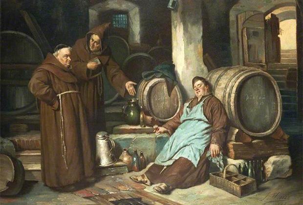 Жозеф Хайер «Монахи в винном погребе»,1873
