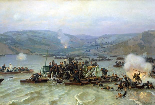 Картина Николая Дмитриева-Оренбургского «Переправа русской армии через Дунай у Зимницы 15 июня 1877 года»