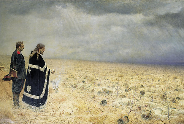 Картина Василия Верещагина «Побежденные. Панихида»
