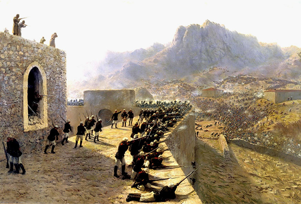 Картина Льва Лагорио «Отбитие штурма крепости Баязет 8 июня 1877 года»