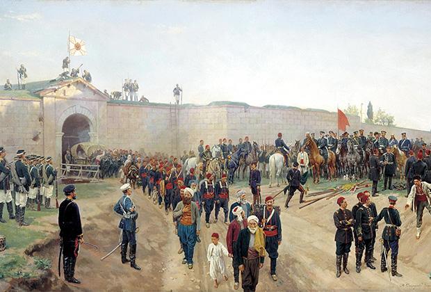 Картина Николая Дмитриева-Оренбургского «Сдача крепости Никополь 4 июля 1877 года»