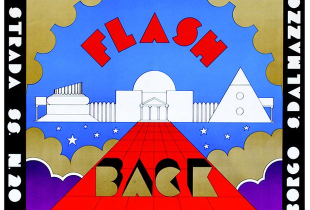 Также на выставке «Ночная лихорадка» представлены постеры и рекламные плакаты с анонсами различных мероприятий. Эта иллюстрация — плакат для итальянского клуба Flash Back с рекламой вечеринки, состоявшейся в 1972 году.