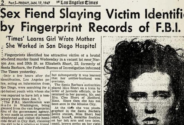 Заметка в газете о смерти Элизабет Шорт