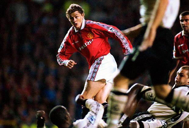 Сульшер во время игры за «Манчестер Юнайтед»