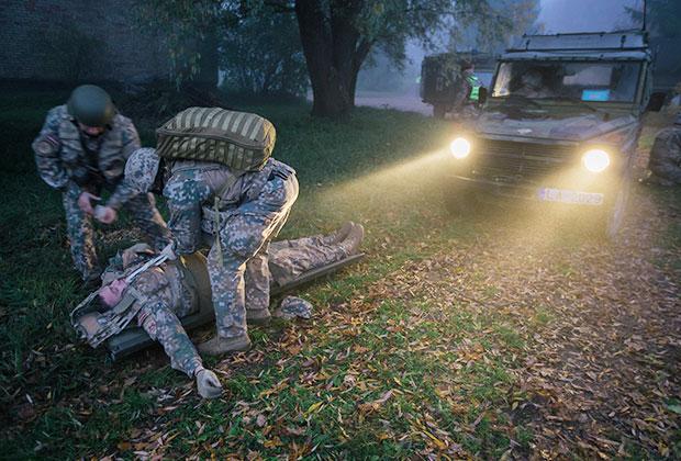 Международные военные учения «Серебряная пуля-2017», военная полиция в сотрудничестве с инженерно-саперной бригадой