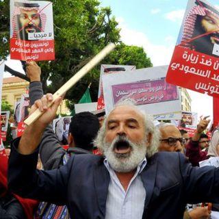 Акция протеста в Тунисе в связи с убийством Джамаля Хашогги, проходившая во время визита в страну принца Мухаммада бин Салмана