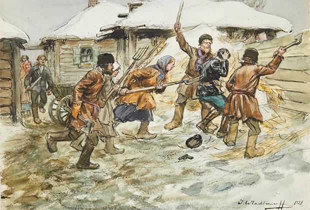 Картина Ивана Владимирова «Расправа крестьян с комиссаром из продотряда»