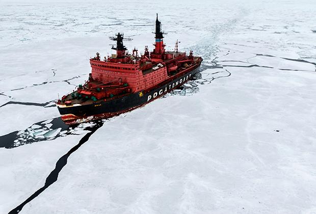 Атомный ледокол «Ямал» во время научно-исследовательских работ в Карском море