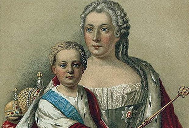 Российский император Иван VI и его мать — правительница Российской империи Анна Леопольдовна