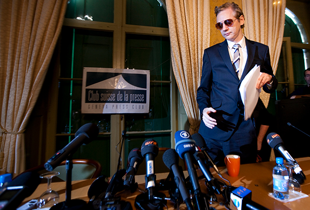Ассанж на пресс-конференции в Женеве в 2010 году