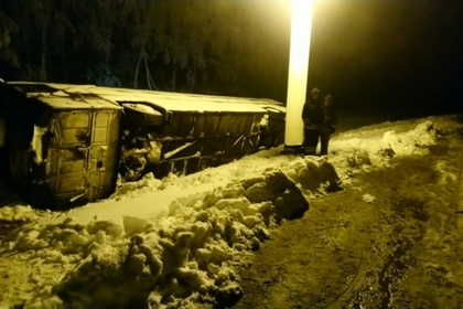 Автобус с 40 детьми вылетел в кювет и перевернулся под Тулой