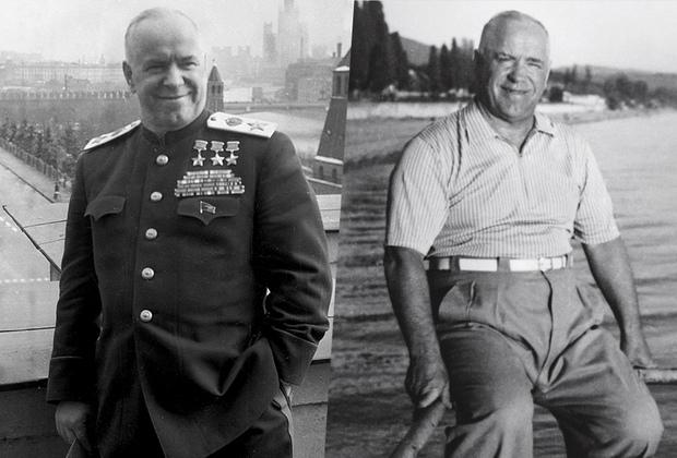 Послевоенные годы стали для Жукова непростыми. После смерти Сталина и прихода к власти Хрущева маршала Жукова вернули из Свердловска в Москву и назначили на должность первого заместителя Министра обороны СССР. С 1955 года он— министр обороны СССР, но уже через три года отправлен в отставку. На фото 1950-х годов его удалось запечатлеть на отдыхе в Сочи.